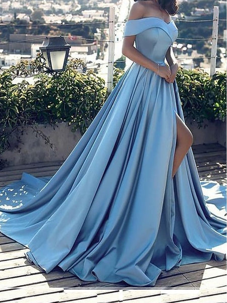 Light blue Ball Gown Off The Shoulder Straps, Prom Dresses, Evening Dress, Formal Dresses, Graduation School Party Dance Dress, DT0380