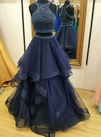 Navy Prom Dress Two Pieces, Evening Dress, Formal Dresses, Graduation School Party Dance Dress, DT0382