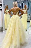 Yellow Lace Prom Dress 2020, Pageant Dress, Evening Dress, Dance Dresses, Graduation School Party Gown, DT0564