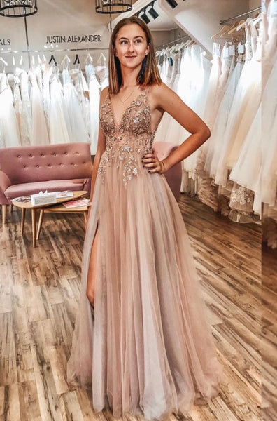 Sexy Prom Dress with Slit, Pageant Dress, Evening Dress, Dance Dresses, Graduation School Party Gown, DT0562
