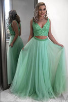 Two Pieces Prom Dress, Pageant Dress, Evening Dress, Dance Dresses, Graduation School Party Gown, DT0549