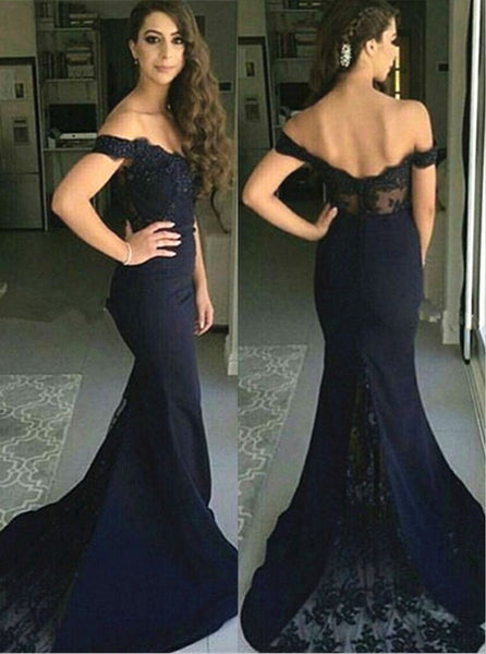 Navy Mermaid Prom Dress, Bridesmaid Dresses, Evening Dress, Dance Dresses, Graduation School Party Gown, DT0272