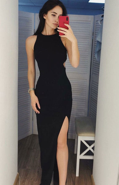Black Prom Dress Slit Skirt, Evening Dress, Dance Dresses, Graduation School Party Gown, DT0282