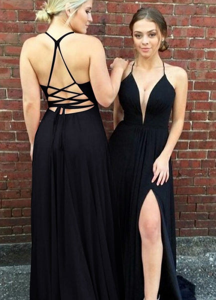 Sexy Black Prom Dress, Evening Dress, Dance Dresses, Graduation School Party Gown, DT0284