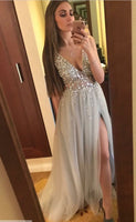 Sexy Prom Dress Slit Skirt, Evening Dress, Dance Dresses, Graduation School Party Gown, DT0287