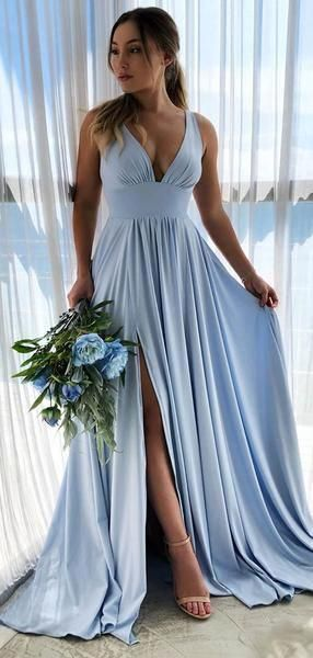 Sexy Prom Dress with Slit, Pageant Dress, Evening Dress, Dance Dresses, Graduation School Party Gown, DT0525