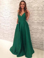 Green Prom Dress with Pockets, Pageant Dress, Evening Dress, Dance Dresses, Graduation School Party Gown, DT0573