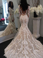 Mermaid Lace Wedding Dress Long Sleeves, Bridal Gown ,Dresses For Brides, DT0339