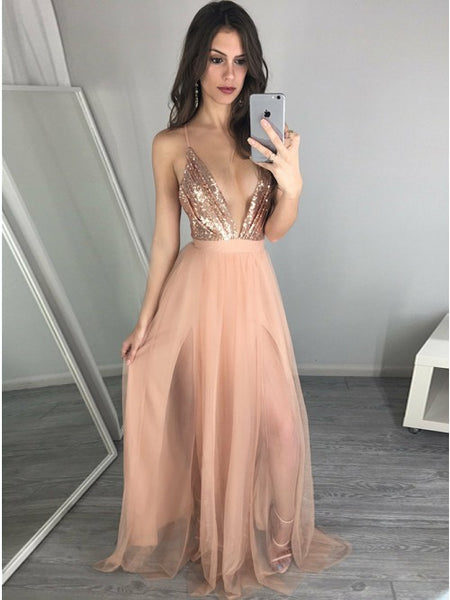 Sexy Prom Dress Deep V Neckline, Pageant Dress, Evening Dress, Dance Dresses, Graduation School Party Gown, DT0586