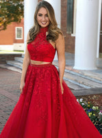 Two Pieces Prom Dress Halter Neckline, Dresses For Graduation Party, Evening Dress, Formal Dress, DT0504