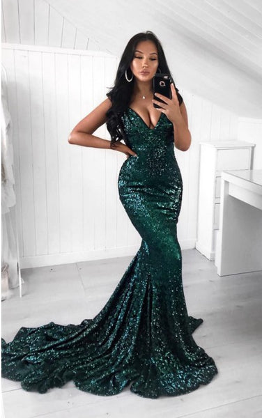 Mermaid Prom Dress Shinning Fabric, Formal Dress, Evening Dress, Dance Dresses, Graduation School Party Gown, DT0733