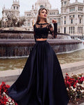 Two Pieces Black Prom Dress 2021, Formal Dress, Evening Dress, Dance Dresses, Graduation Party Dress, DT0772