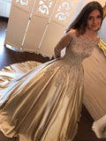 Champagne Gold Prom Dress with Sleeves, Pageant Dress, Evening Dress, Dance Dresses, Graduation School Party Gown, DT0536