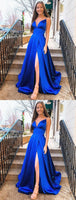Sexy Royal Blue Prom Dress with Slit, Prom Dresses, Pageant Dress, Evening Dress, Ball Dance Dresses, Graduation School Party Gown, DT0639