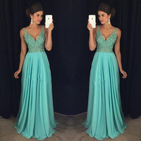 V-neck Beaded Prom Dress Long, Evening Dress, Dance Dresses, Graduation School Party Gown, DT0313