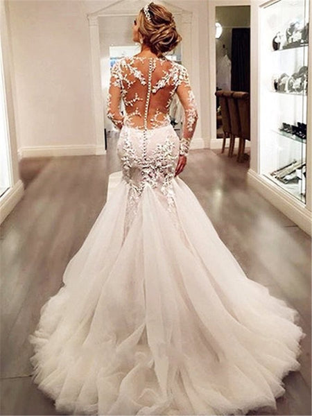 Sexy Mermaid Wedding Dress with Sleeves, Bridal Gown ,Dresses For Brides, DT0354
