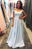 Light Blue Prom Dress Off The Shoulder Straps, Evening Dress, Formal Dresses, Graduation School Party Dance Dress, DT0402