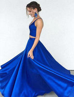 Two Pieces Royal Blue Prom Dress, Prom Dresses, Evening Gown, Graduation School Party Dress, Winter Formal Dress, DT0089