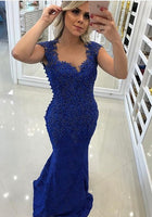 Mermaid Royal Blue Prom Dress, Evening Gown, Graduation School Party Dress, Winter Formal Dress, DT0056