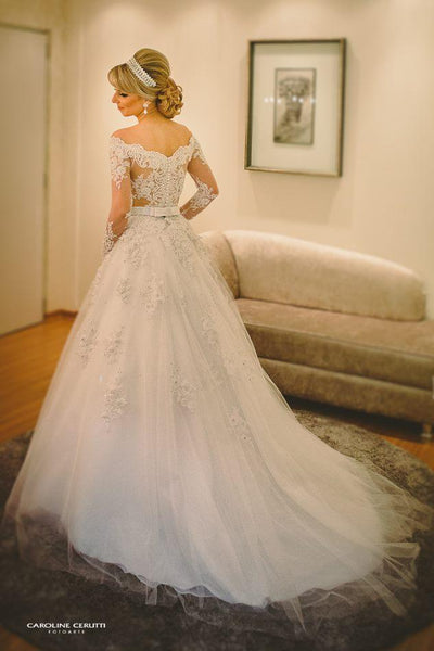 Wedding Dress Off The Shoulder Sleeves, Bridal Gown ,Dresses For Brides, PM0005