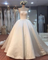 Satin Wedding Dress Lace Up Back, Dresses For Wedding, Bridal Gown ,Bride Dress, Dresses For Brides, PM0106
