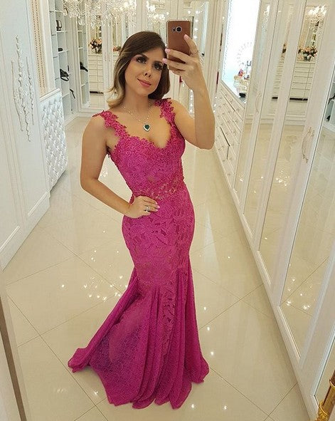 Mermaid Lace Prom Dress Long Graduation School Party Gown Sweet 16 Dance Dress Winter Formal Dress DT0002