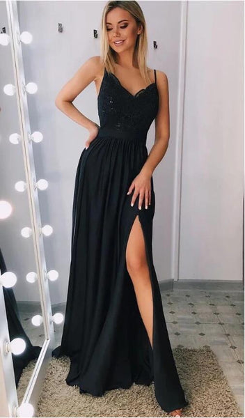 Black Prom Dress with Slit, Pageant Dress, Evening Dress, Dance Dresses, Graduation School Party Gown, DT0590