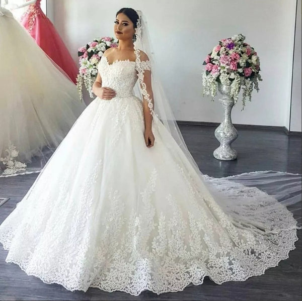 Princess Style Wedding Dress 2019 Off The Shoulder Straps, Bridal Gown DT0337