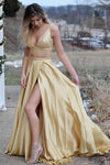 Two Pieces Prom Dress Gold Color, Prom Dresses, Pageant Dress, Evening Dress, Ball Dance Dresses, Graduation School Party Gown, DT0641