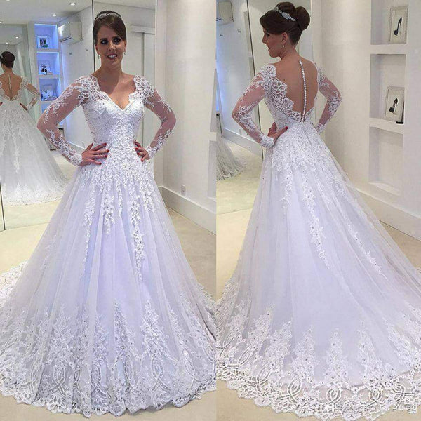 White Lace Wedding Dress Long Sleeves, Bridal Gown ,Dresses For Brides, PM0011