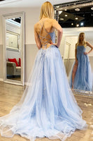 Light Blue Prom Dress with Slit, Prom Dresses, Pageant Dress, Evening Dress, Ball Dance Dresses, Graduation School Party Gown, DT0657