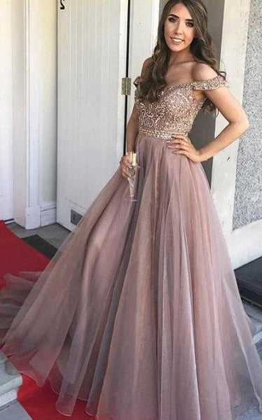Off the Shoulder Beaded Prom Dress Long, Evening Dress, Dance Dresses, Graduation School Party Gown, DT0318