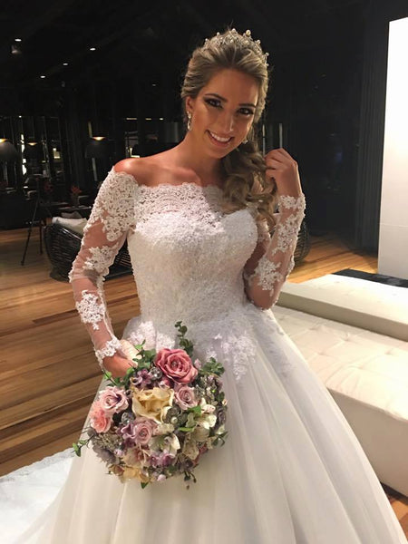 Wholesale Wedding Dress Off The Shoulder Sleeves, Bridal Gown ,Dresses For Brides, DT0350
