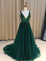 Dark Green Prom Dress, Evening Dress, Formal Dresses, Graduation School Party Dance Dress, DT0386