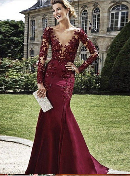 Sexy Prom Dresses Long Sleeves, Graduation School Party Gown, Winter Formal Dress, DT0010