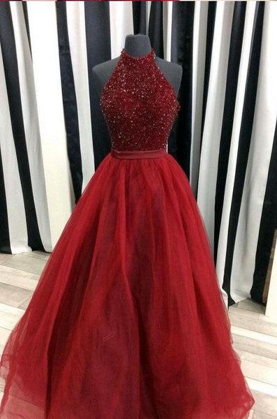 Prom Dress with Halter Neckline, Evening Gown, Graduation School Party Dress, Winter Formal Dress, DT0047
