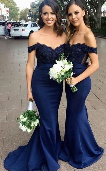 Navy Mermaid Bridesmaid Dresses, Bridesmaid Dress For Wedding BM0012