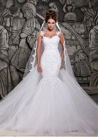 Mermaid Style Wedding Dress Removable Train, Bridal Gown ,Dresses For Brides, PM0036