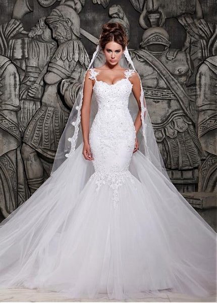 Mermaid Style Wedding Dress.Mermaid Style Wedding Dress Removable Train Bridal Gown Dresses For Brides Pm0036