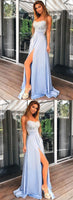 Sexy Prom Dress Long Slit Skirt, Evening Dress, Dance Dresses, Graduation School Party Gown, DT0252
