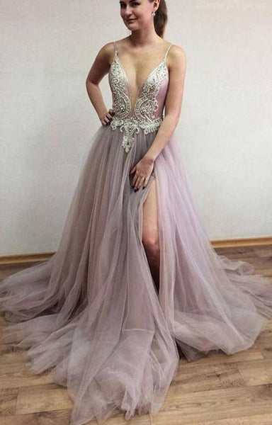 V-neck Beaded Prom Dress Long, Evening Dress, Dance Dresses, Graduation School Party Gown, DT0308