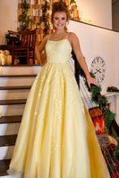 Yellow Lace Prom Dress, Prom Dresses, Pageant Dress, Evening Dress, Ball Dance Dresses, Graduation School Party Gown, DT0680