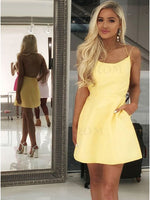 Yellow Homecoming Dress, Short Prom Dress ,Dresses For Graduation Party, Evening Dress, Formal Dress, DTH0754