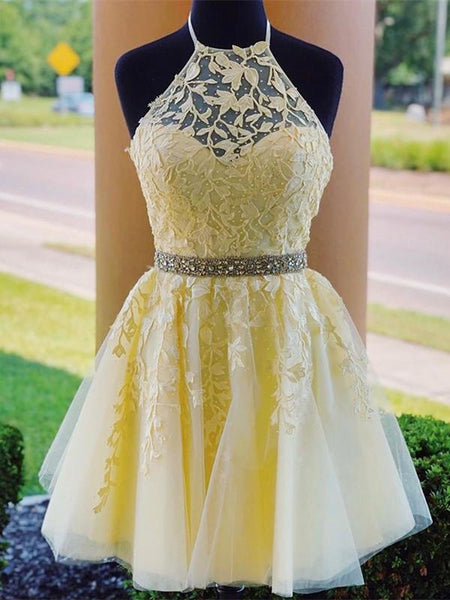 Yellow Homecoming Dress Halter Neckline, Short Prom Dress ,Back To School Party Dress, Evening Dress, Formal Dress, DTH0054