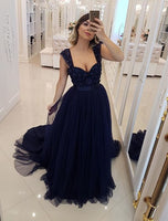 Navy Prom Dress, Graduation School Party Gown, Winter Formal Dress, DT0014