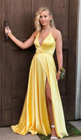 Sexy Yellow Prom Dress Slit Skirt, Special Occasion Dress, Evening Dress, Ball Dance Dresses, Graduation School Party Gown, DT0688