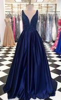 Navy Prom Dress Long, Pageant Dress, Evening Dress, Dance Dresses, Graduation School Party Gown, DT0616