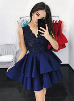Short Navy Prom Dress, Homecoming Dresses, Graduation School Party Gown, Winter Formal Dress, DT0157