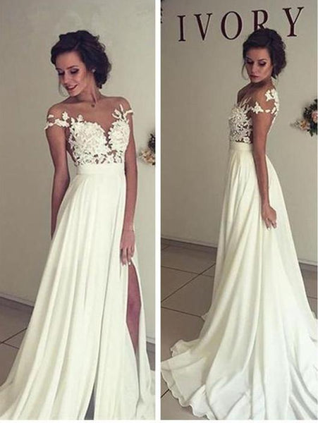 Sexy Chiffon Wedding Dress Slit Skirt, Bridal Gown ,Dresses For Brides, PM0001