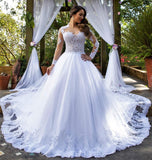 White Wedding Dress with Sleeves, Bridal Gown ,Dresses For Brides, DT0353